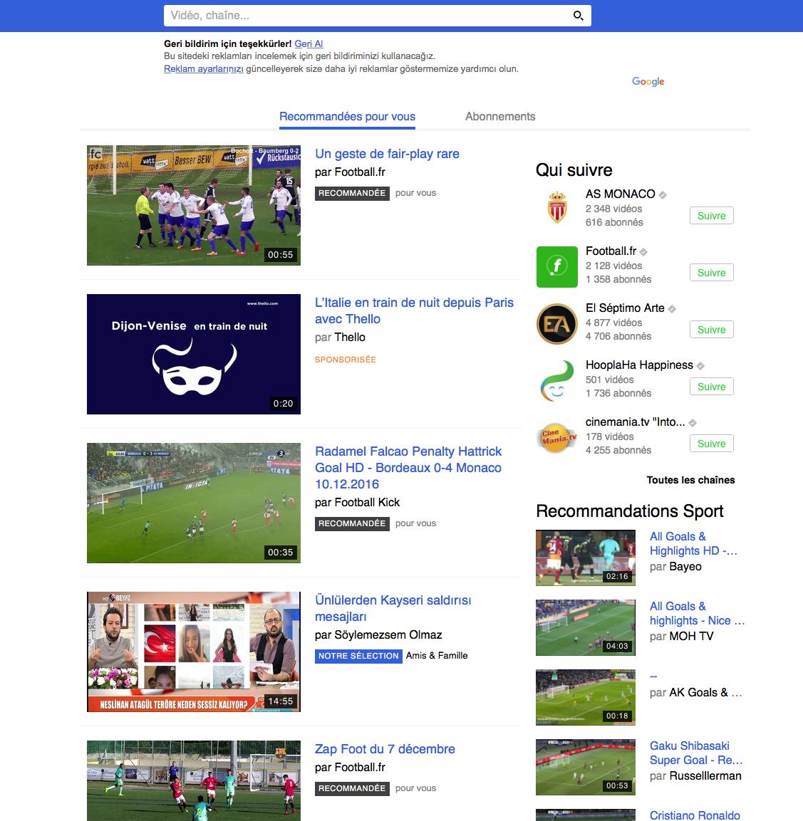 Traduction en turc de l'interface du site Internet Dailymotion