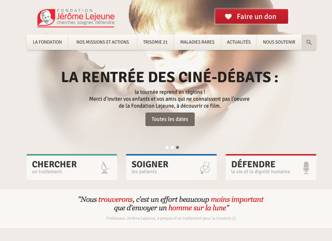 Traduction de site internet  pour l'Institut Jérome Lejeune